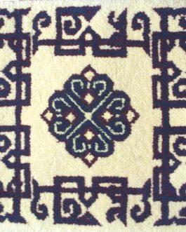 Caucasian Kazak Pearl small mat 14″x14″ Skeins-9