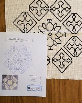 Caucasian Kazak Marque small mat 14″x 14″ Skeins-9